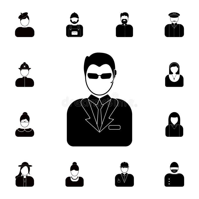 avatar ochroniarz ikona Szczegółowy set avatars zawód ikony Premii ilości graficznego projekta ikona Jeden zbierający ilustracji