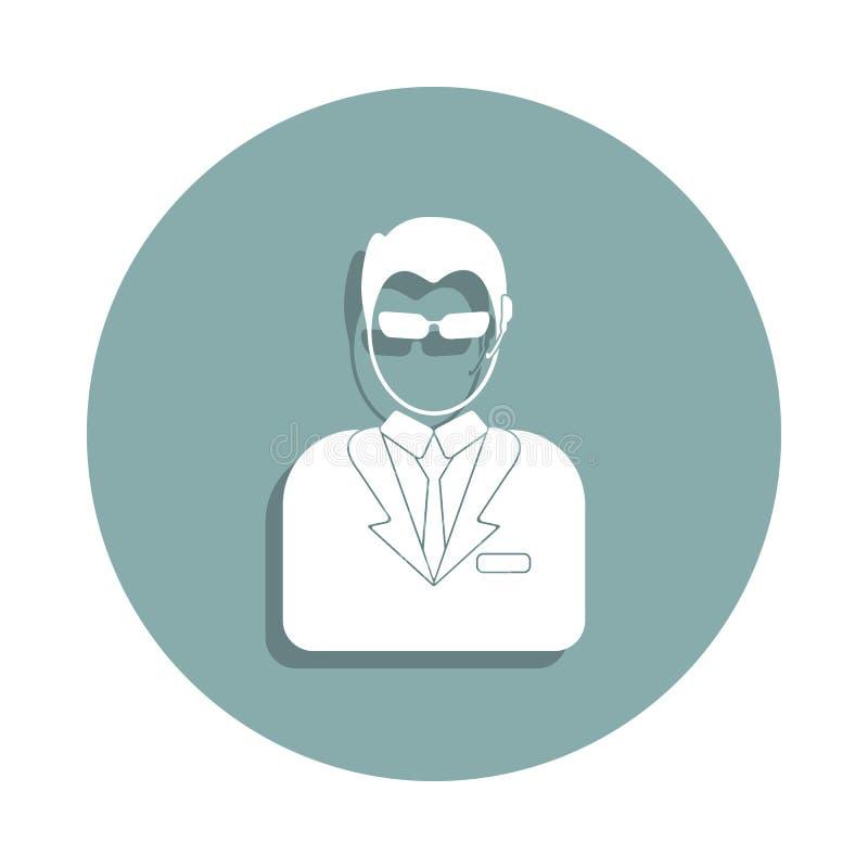 avatar ochroniarz ikona w odznaka stylu Jeden Avatars inkasowa ikona może używać dla UI, UX ilustracji