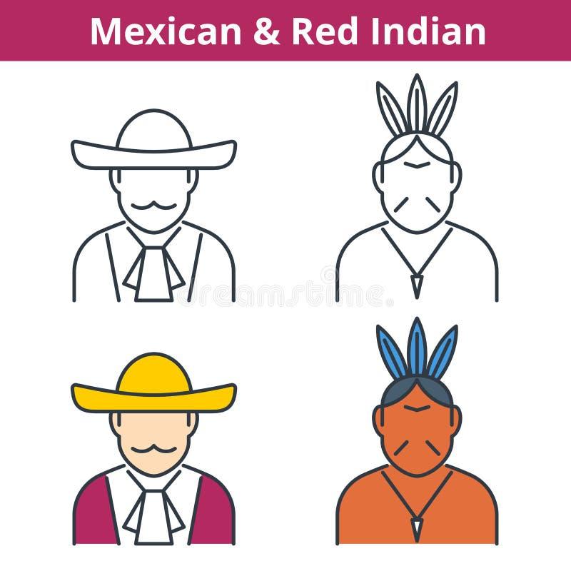 Avatar piano e lineare di vettore messo: Messicano ed indiano rosso illustrazione vettoriale