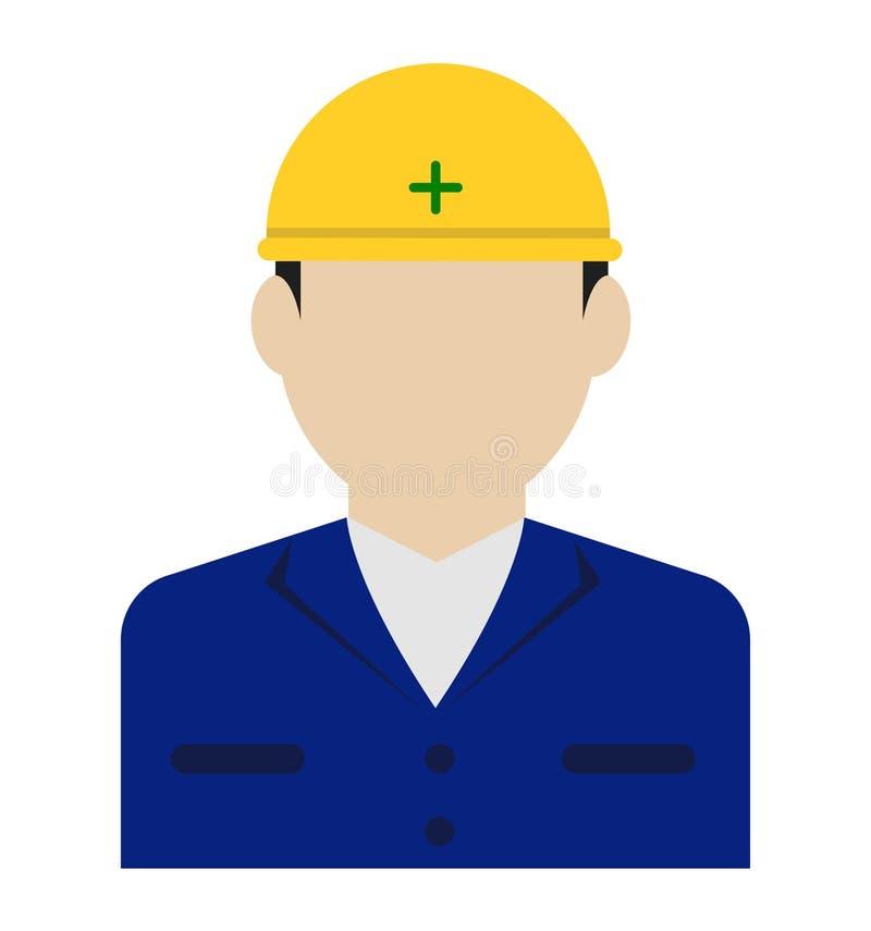 Avatar piatta di un giovane operaio/corpo superiore illustrazione di stock