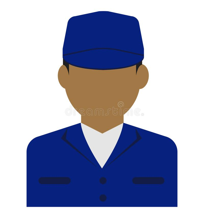 Avatar piatta di un giovane operaio/corpo superiore illustrazione vettoriale
