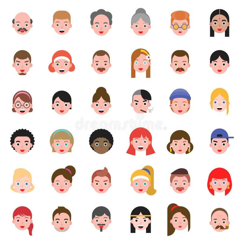Avatar pictogram van de het haarstijl van het mensen plaatste het hoofdverschil 2, vlak ontwerp vector illustratie