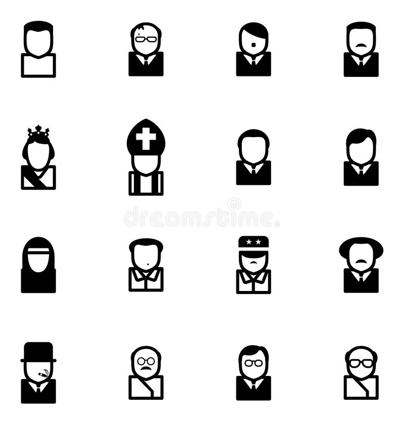 Avatar Pictogrammen Beroemde Dictators stock illustratie
