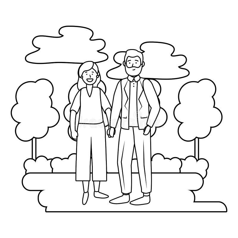 Avatar plus âgé de couples noir et blanc illustration libre de droits