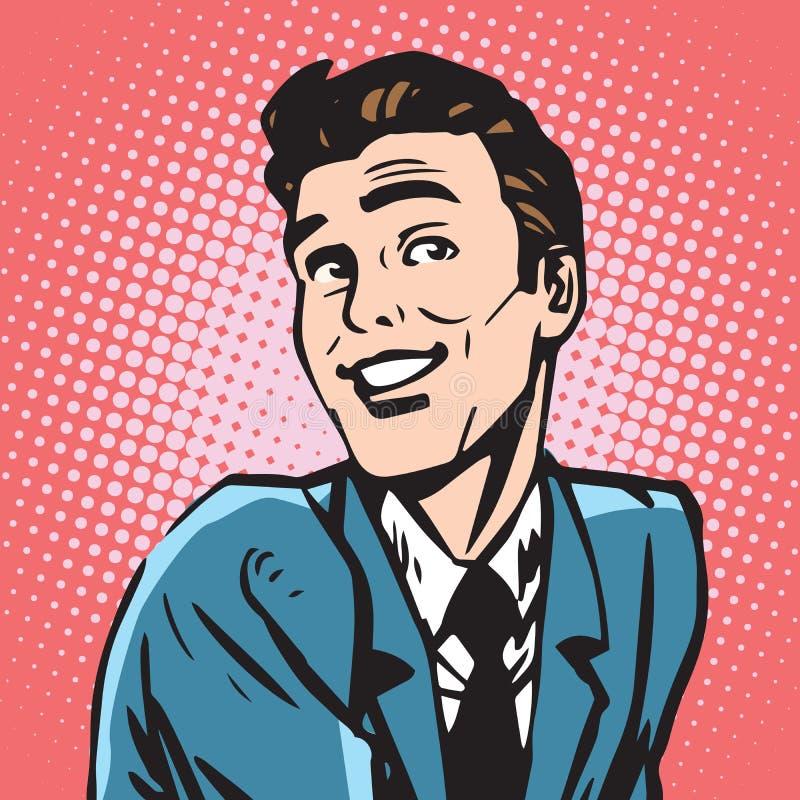 Avatar portret glimlachend mannetje stock illustratie