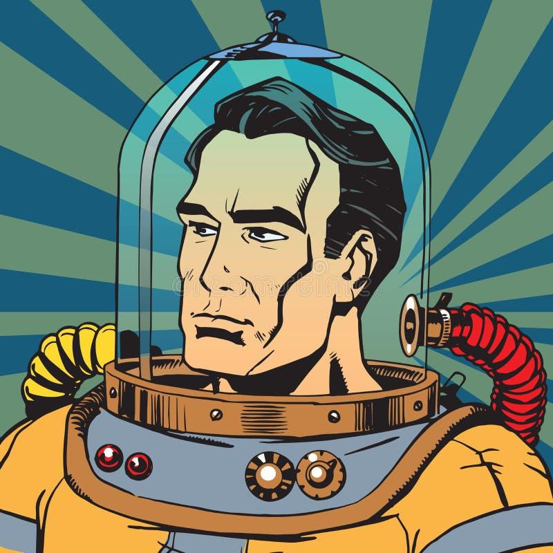Avatar portret van een retro astronautenmens royalty-vrije illustratie