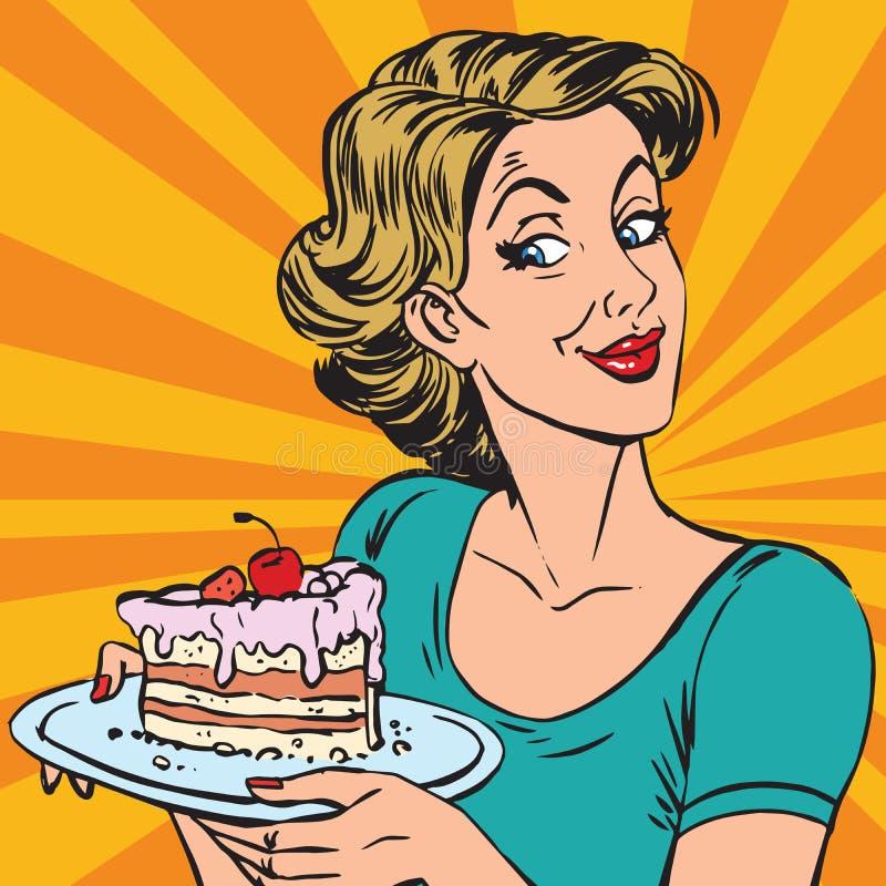 Avatar portretvrouw met een stuk van cake stock illustratie