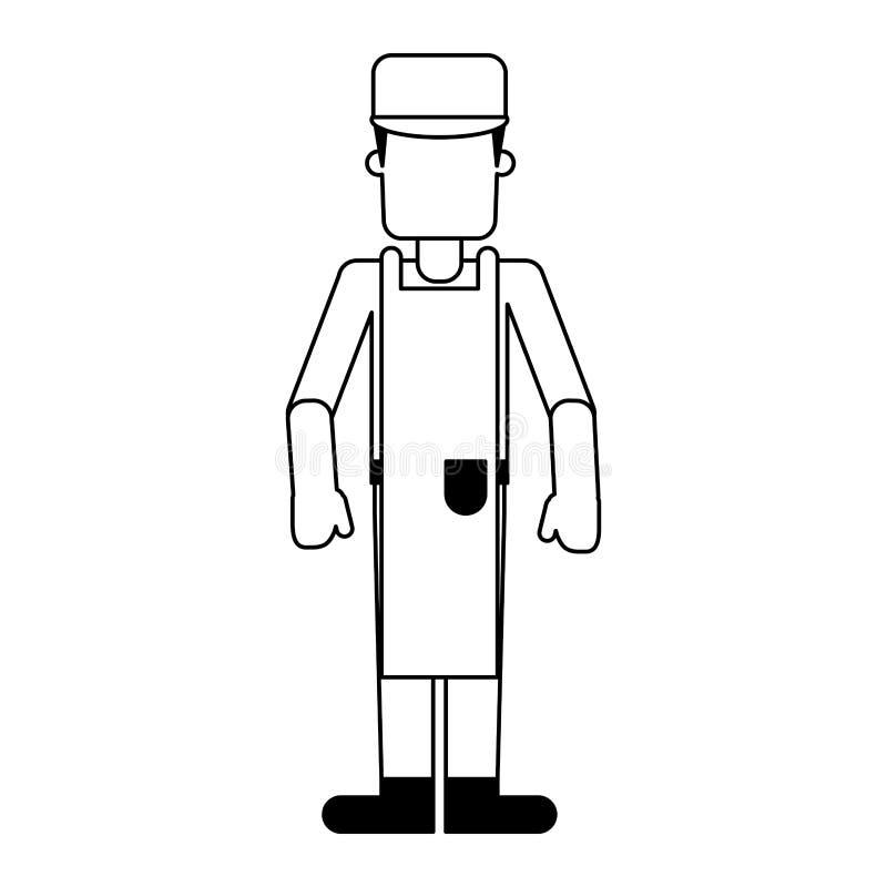 Avatar profesional del trabajador del carnicero en blanco y negro ilustración del vector