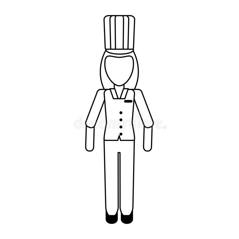 Avatar profesional del trabajador de la cocina del cocinero en blanco y negro stock de ilustración