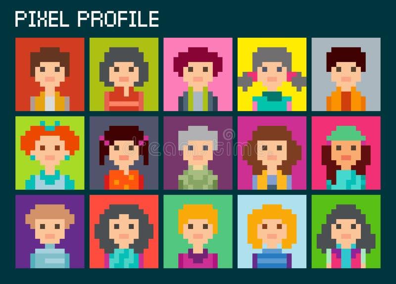 Avatar quadrati del pixel messi Quindici ritratti royalty illustrazione gratis