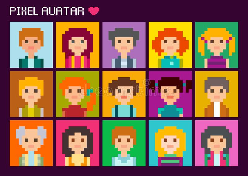 Avatar quadrati svegli del pixel Quindici ritratti variopinti illustrazione vettoriale
