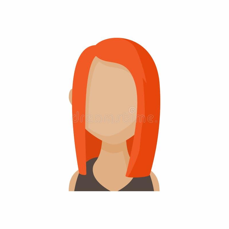 Avatar redhead woman icon, cartoon style stock illustration