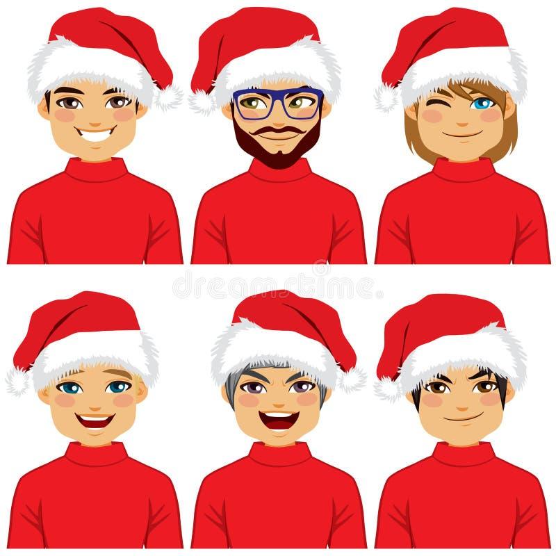 Avatar Santa Claus Hat dos homens ilustração do vetor