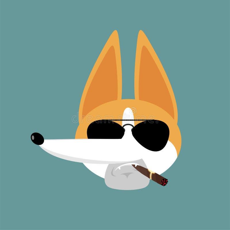 Avatar serio fresco del Corgi de emociones Emoji del cigarro del perro que fuma Animal doméstico estricto Ilustraci?n del vector stock de ilustración
