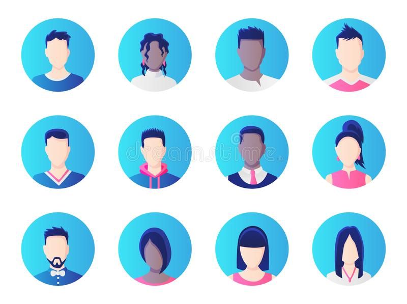 Avatar set. Group of working people diversity, diverse business men and women avatar icons. Vector illustration of flat royalty free illustration