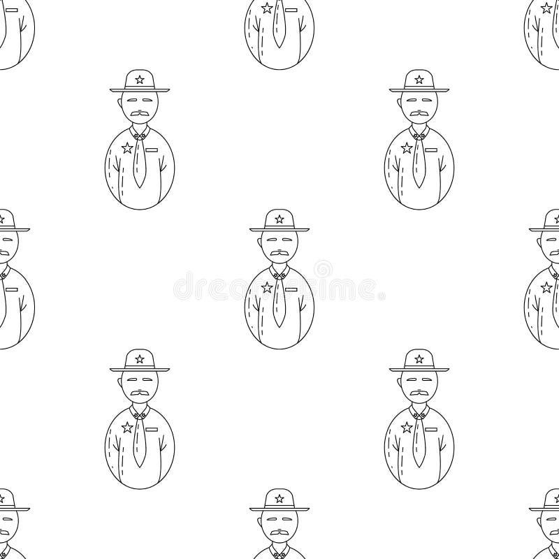 avatar sheriffpictogram Element van Avatars pictogram voor mobiel concept en Web apps Het patroon herhaalt naadloos avatar sherif vector illustratie