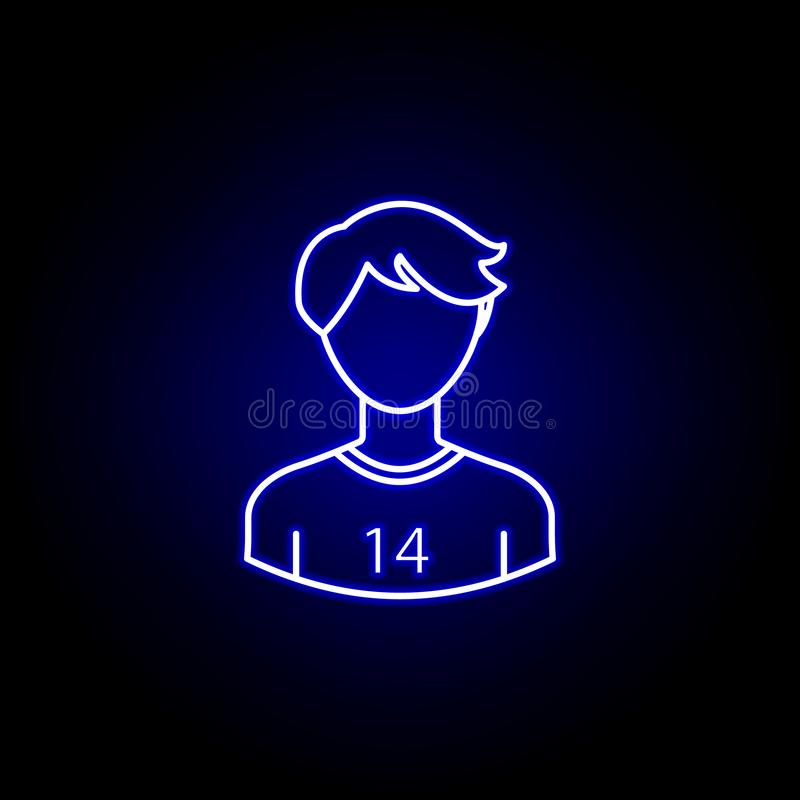 Avatar soccer player line icon in blue neon style. Signs and symbols can be used for web logo mobile app UI UX. On black background vector illustration