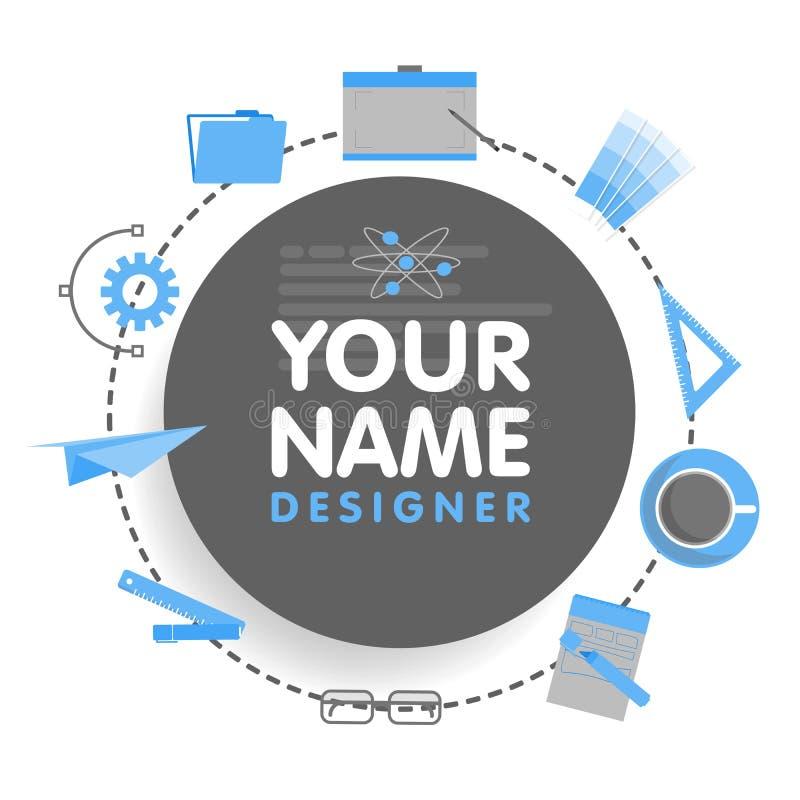 Avatar social de concepteur de réseau Endroit pour votre nom Calibre du portfolio d'artiste, bannières, annonces, sites Web illustration de vecteur