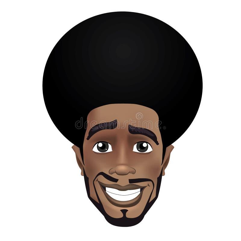 Avatar sorridente del fronte del tipo nero di afro sveglio della barba illustrazione di stock