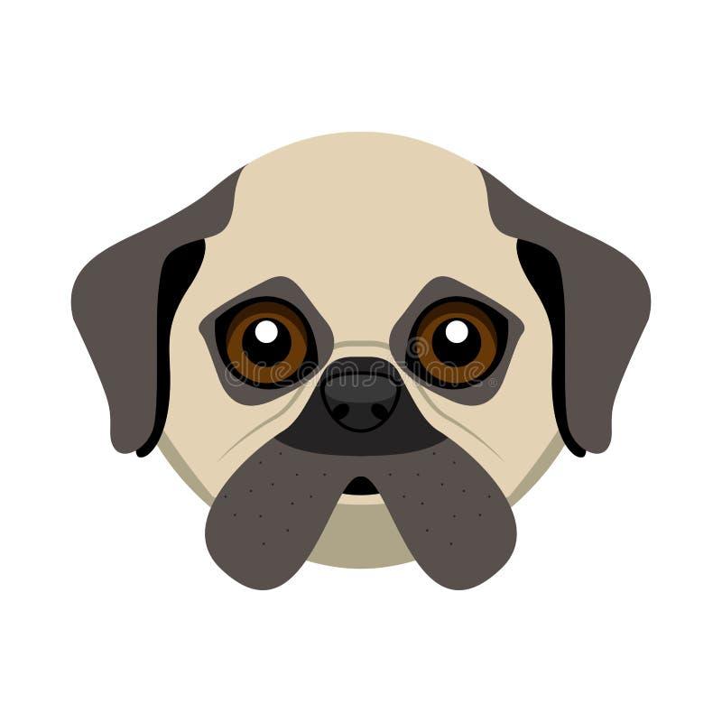 Avatar sveglio del cane del carlino illustrazione di stock