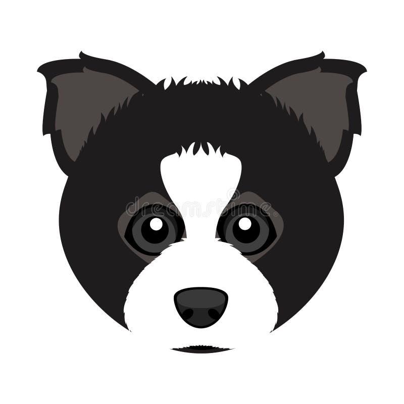 Avatar sveglio del cane di border collie illustrazione di stock