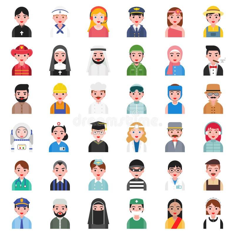 Avatar sveglio della gente in vari professionista e cultura tale a illustrazione di stock