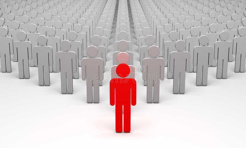 Avatar (symbolic figures of people). Standing Out from the Crowd. 3d illustration. Available in high-resolution and several sizes to fit the needs of your stock illustration