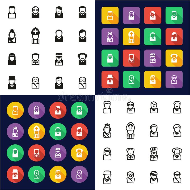 Avatar 20th Century Historical Figures All in One Icons Black & White Color Flat Design Freehand Set. This image is a vector illustration and can be scaled to stock illustration