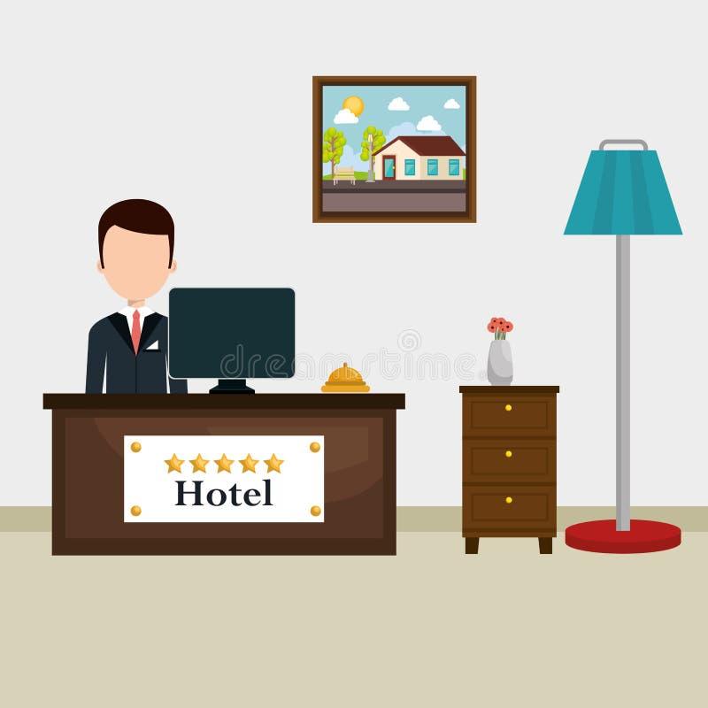 Avatar travaillant de réceptionniste d'hôtel illustration libre de droits