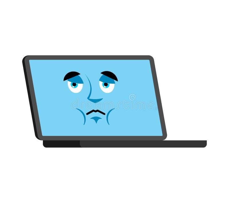 Avatar triste de la cara del emoji del ordenador Emociones tristes del ordenador portátil PC du stock de ilustración