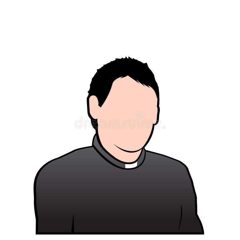 avatar twarzy księdza wektoru pleban ilustracja wektor