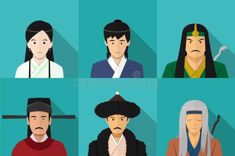 Avatar van Chinese mensen in vlakke stijl, vectorart. stock illustratie