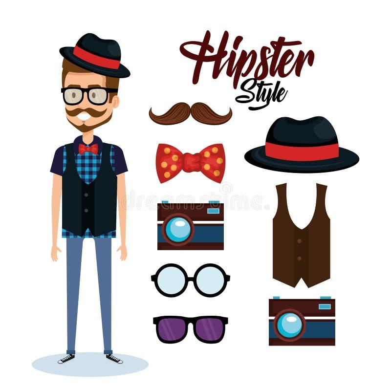 Avatar van de Hipsterstijl met toebehoren vector illustratie