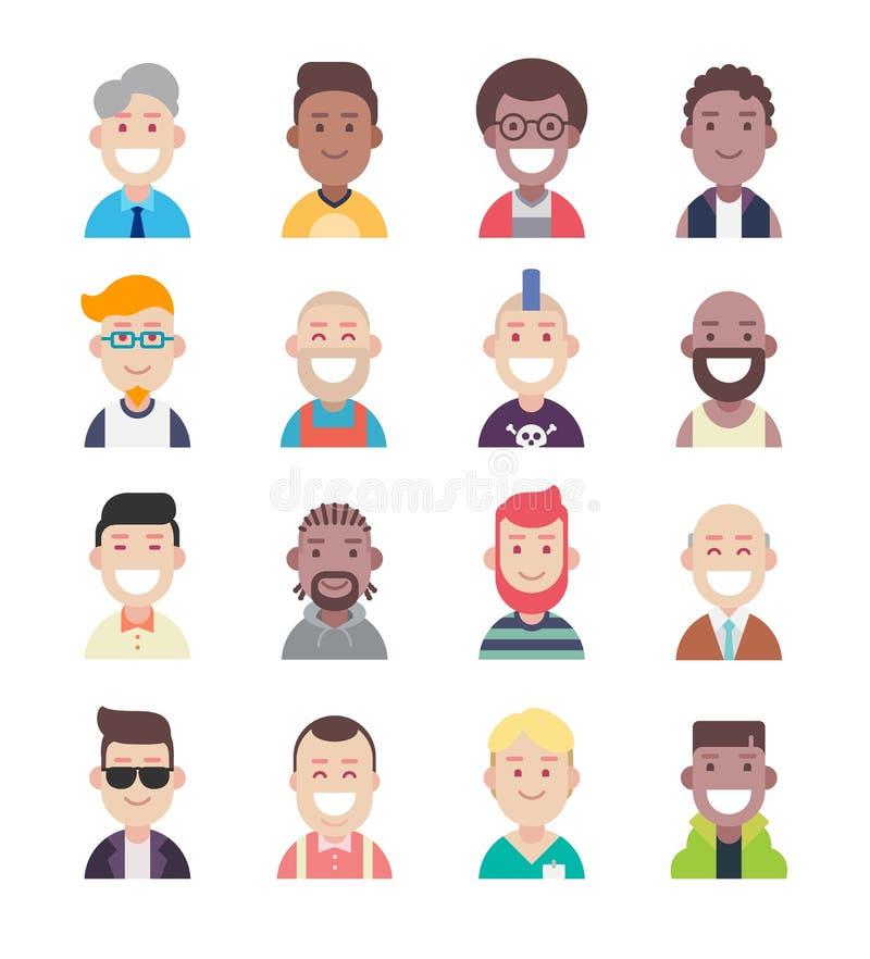Avatar van diversiteitsmensen vlakke pictogramreeks royalty-vrije stock afbeelding