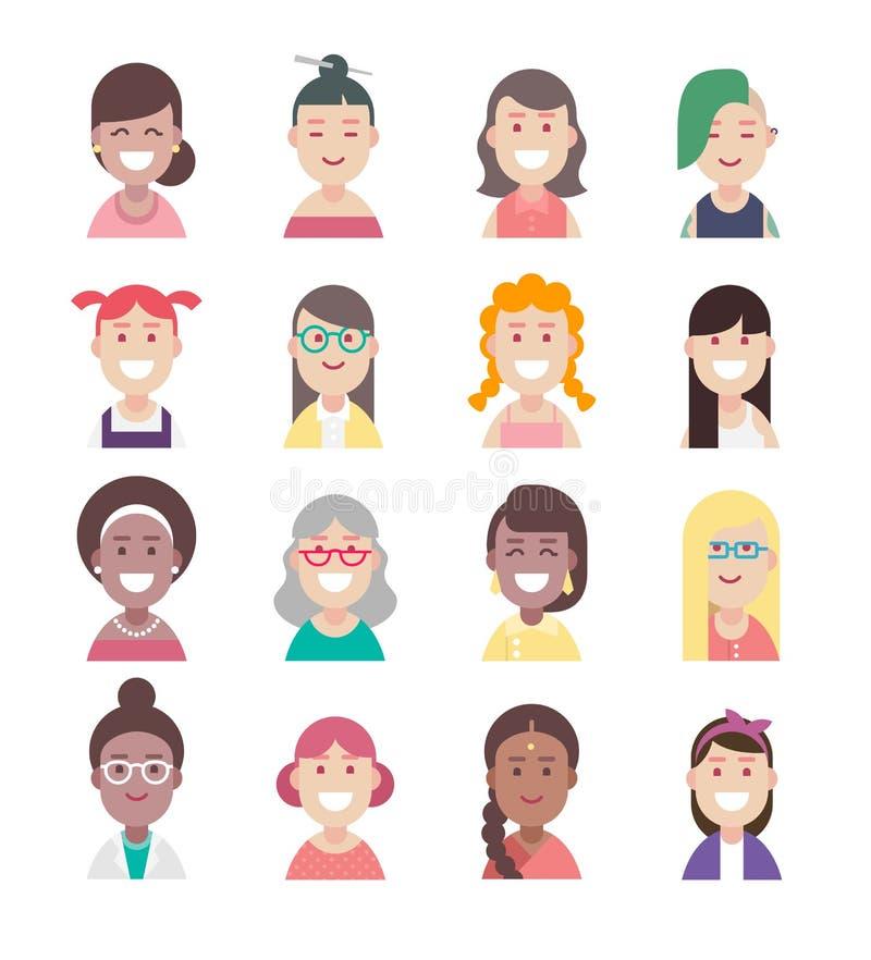 Avatar van diversiteitsmensen vlakke pictogramreeks, vectorvrouwenkarakters royalty-vrije stock foto's