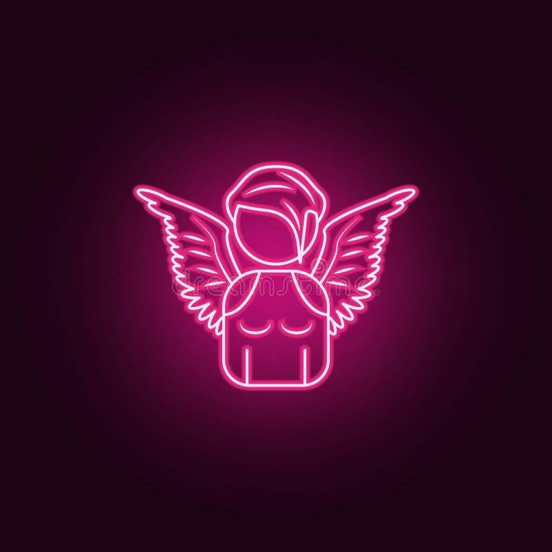 avatar van een het neonpictogram van het engelenmeisje Elementen van Engel en demonreeks Eenvoudig pictogram voor websites, Webon royalty-vrije illustratie