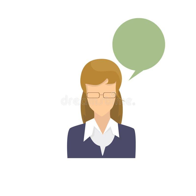 Avatar van het profielpictogram het Vrouwelijke Portret Toevallig Person Silhouette Face van het Vrouwenbeeldverhaal stock illustratie