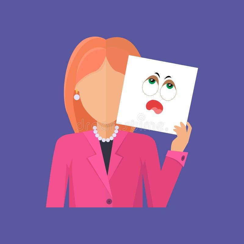 Avatar van het vrouwenkarakter Vector in Vlak Ontwerp stock illustratie