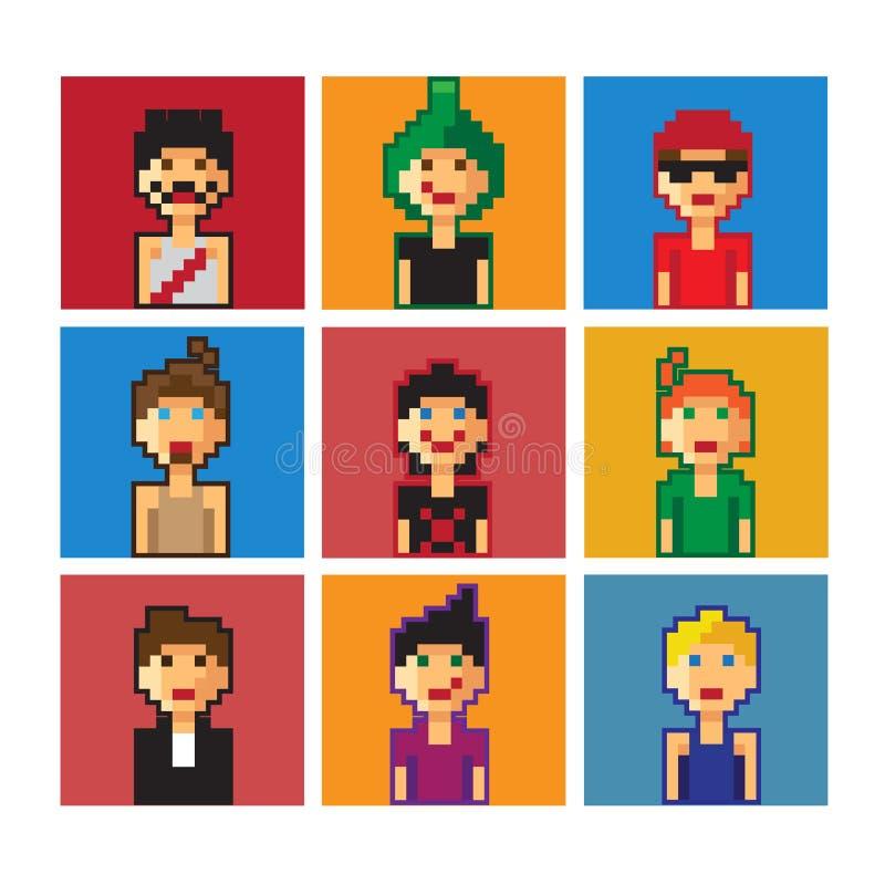 Avatar van pixeljongens royalty-vrije stock fotografie