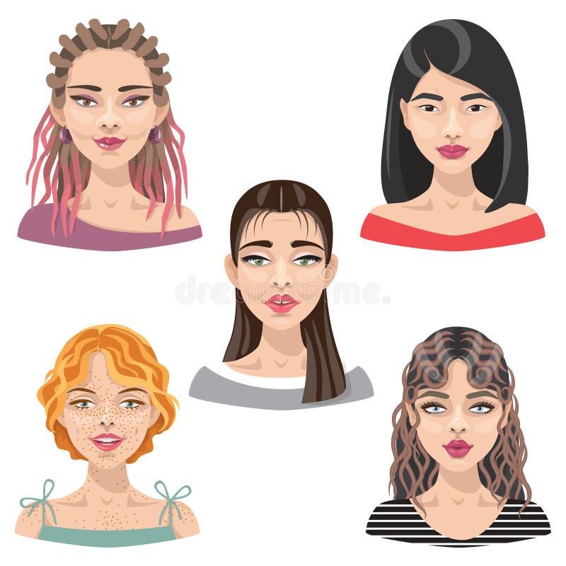 Avatar van vrouwengezichten Reeks royalty-vrije illustratie