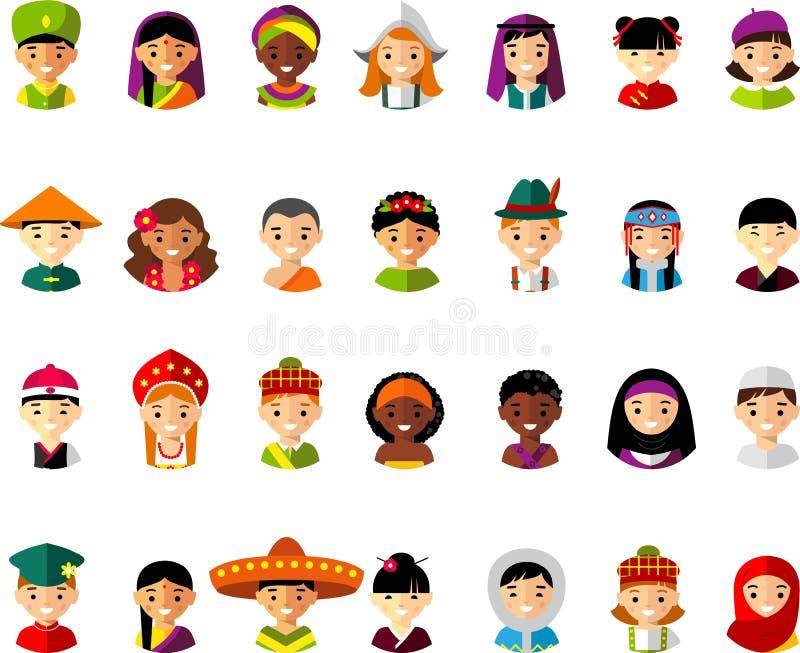 Avatar vectorillustratie van multiculturele nationale kinderen, mensen stock illustratie