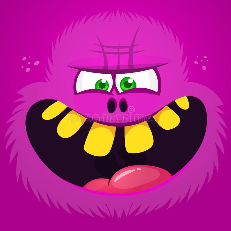Avatar velu de visage de monstre de bande dessinée fâchée Caractère de monstre de rose de Halloween de vecteur illustration libre de droits