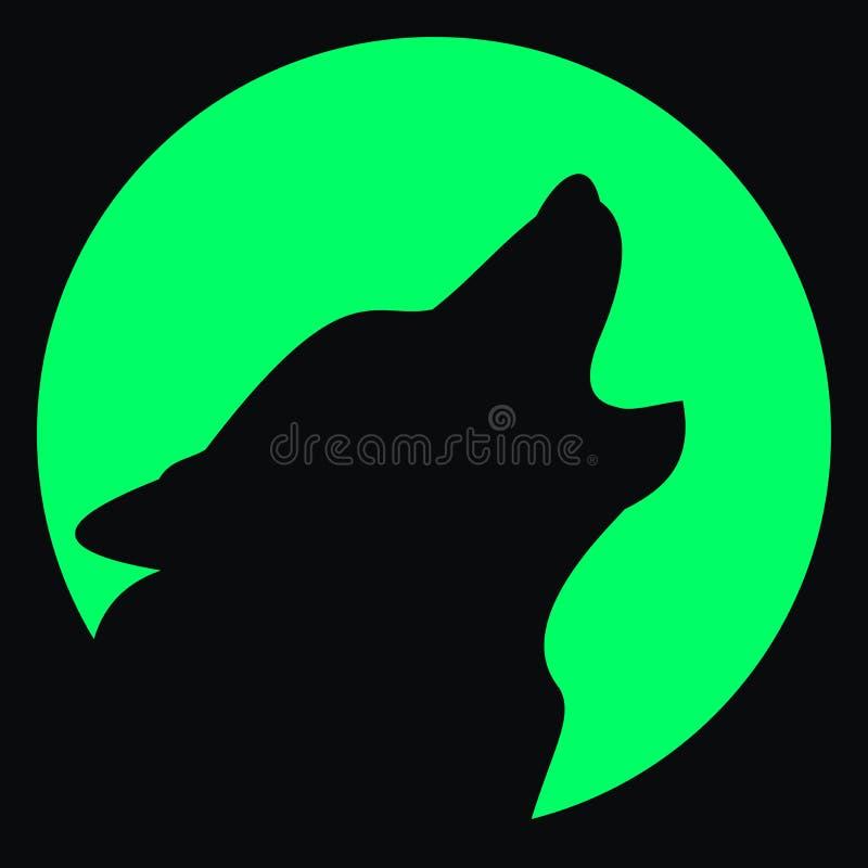 Avatar. Wolf en maan. Silhouet stock illustratie
