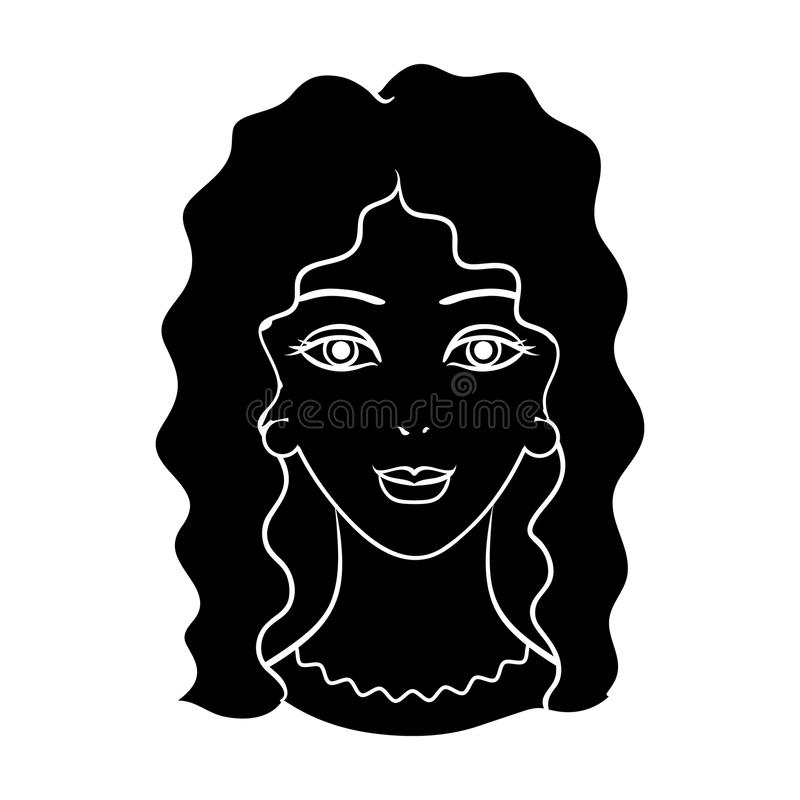 Avatar of a woman with curly hair.Avatar and face single icon in black style vector symbol stock illustration. stock illustration