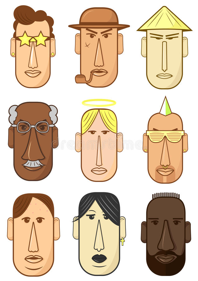 Avatar, woman, man heads characters. People avatars collection.Womens and mens heads characters. Vector Illustration in flat style stock illustration