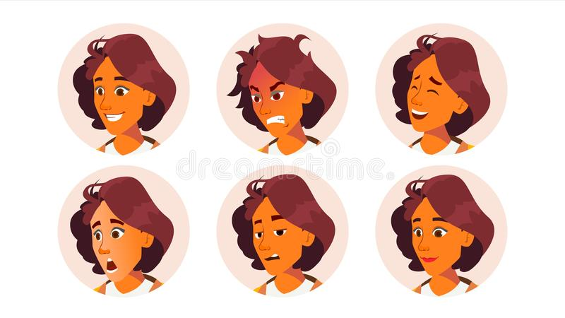 Avatar Woman Vector. Facial Emotions. Icon Placeholder. Face Silhouette. Various Expression. Office Worker. Cartoon vector illustration