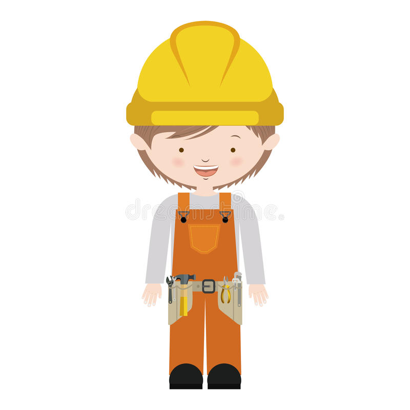 Avatar worker with toolkit and brown hair vector illustration. Vector illustration . Vector illustration stock illustration