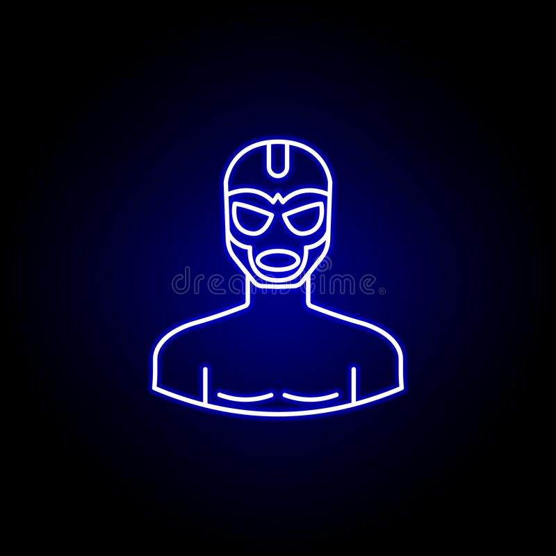 Avatar wrestler line icon in blue neon style. Signs and symbols can be used for web logo mobile app UI UX. On black background vector illustration