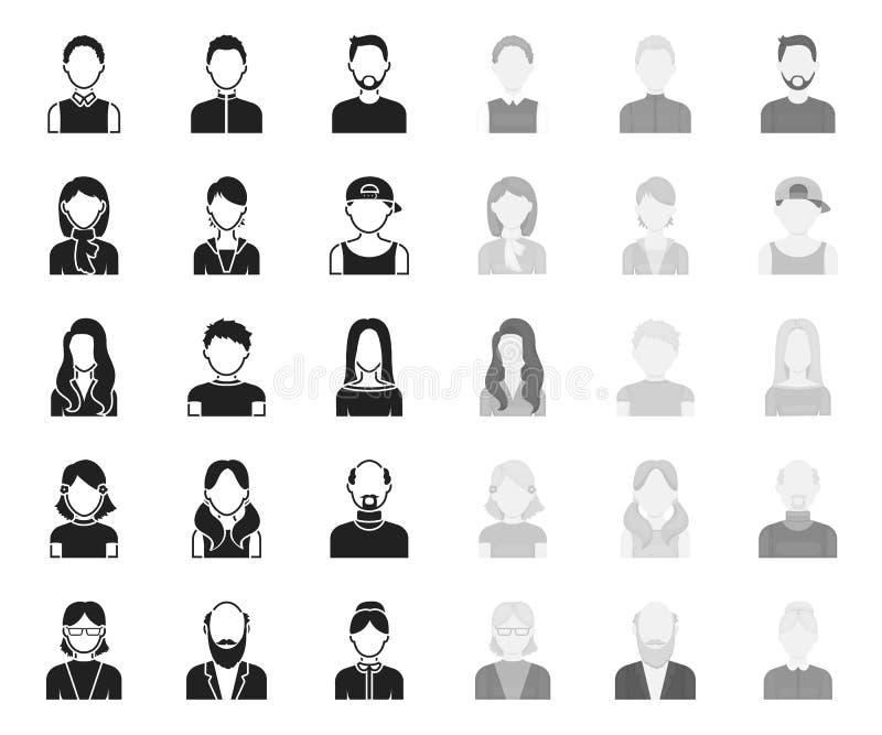 Avatar y negro de la cara r Un web de la acci?n del s?mbolo del vector del aspecto del ` s de la persona stock de ilustración