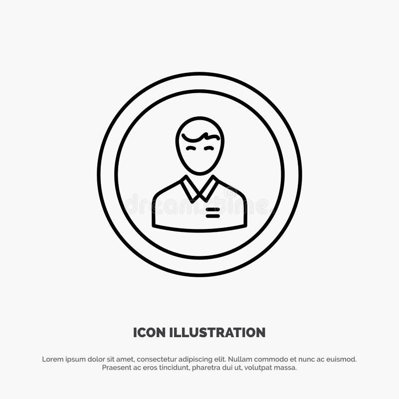 Avatar, Zaken, Mens, Mens, Persoon, Profiel, het Pictogramvector van de Gebruikerslijn vector illustratie